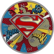 Canada SUPERMAN POP-ART Canadian Maple Leaf $5 Silver Coin 2016 High relief of S-logo Antique finish 1 oz